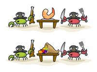 Circle Crab Thanksgiving Illustrations