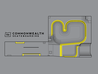 Commonwealth Skateboarding 2-Color Aerial View Graphic