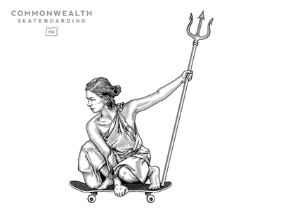 """Her City"" Graphic trident goddess pdx portland portlandia graphics skateboarding"