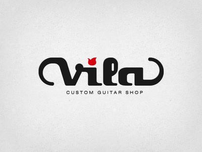 Vila Guitars Logo - Plain logo guitar shop custom electric luthier solidbody inlay headstock