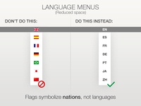 Language menus with flags (reduced space)...