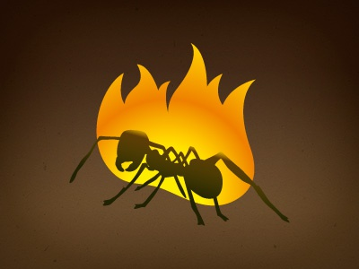 Ant on fire logo vector ant fire studio games smartphone ios android tablet