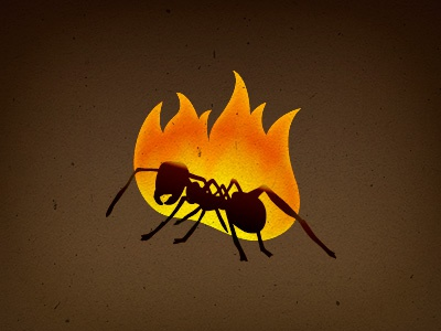 Ant on fire (w/Photosop) logo vector ant fire studio games smartphone ios android tablet
