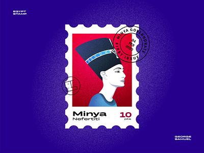 Minya Stamp illustration branding logo illustration animation george samuel landmark stamp illustrations noise queen nefertiti
