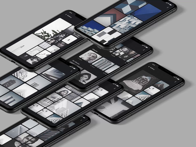 Photo Gallery Design | Grizzly Mobile App Ui KIt illustration george samuel camera app grid photo gallery animation iphone mockup motion ui kit ux design xd ui kit adroid ui kit ios ui kit article design free ui kit animated mockup walk through design dark mode