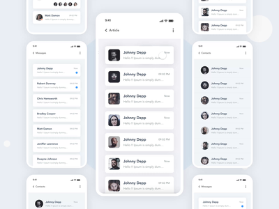 Chat App Design | Grizzly Mobile App Ui KIt video call call list contacts swipe slide messanger chat app animation iphone mockup motion ui kit ux design xd ui kit adroid ui kit ios ui kit article design free ui kit dark mode