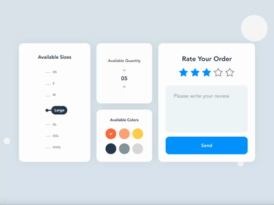 E-commerce Actions | Grizzly Mobile App Ui KIt shopping ecommerce options selector review rate glassmorphism animation iphone mockup motion ui kit ux design xd ui kit adroid ui kit ios ui kit article design free ui kit animated mockup dark mode