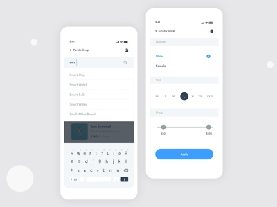 E-commerce Actions Design | Grizzly Mobile App Ui KIt search input options ecommerce app shopping filters search glassmorphism animation iphone mockup motion ui kit ux design xd ui kit adroid ui kit ios ui kit article design free ui kit animated mockup dark mode