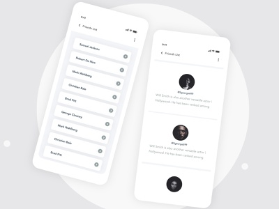 Friend List Designs   Grizzly Mobile App Ui KIt interaction george samuel animation iphone mockup motion ui kit ux design xd ui kit adroid ui kit ios ui kit article design free ui kit animated mockup dark mode dialer call app items listing contact