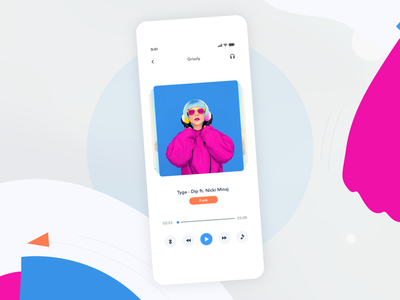 Music Player Design | Grizzly Mobile App Ui KIt soundcloud spotify retro pause stop play next music player glassmorphism.audio player animation iphone mockup motion ui kit ux design xd ui kit adroid ui kit ios ui kit animated mockup dark mode