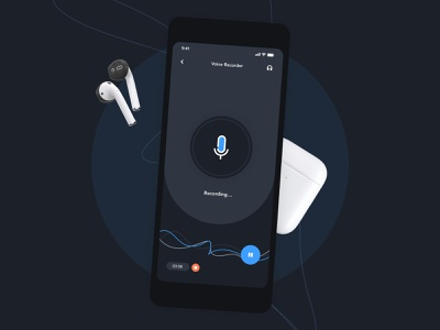 Recording App Design | Grizzly Mobile App Ui KIt waves soundcloud spotify counter recording recorder stop play next music player animation iphone mockup motion ui kit ux design ios ui kit free ui kit animated mockup dark mode