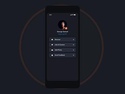 App menu Design   Grizzly Mobile App Ui Kit side navigation  bar side menu drawer app menu retro glassmorphism animation iphone mockup motion ui kit ux design xd ui kit adroid ui kit ios ui kit free ui kit animated mockup dark mode george samuel