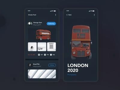 Feed Design | Grizzly Mobile App Ui KIt feed posts list 3d red london bus london glassmorphism animation iphone mockup motion ui kit ios ui kit free ui kit animated mockup dark mode product page blog article details