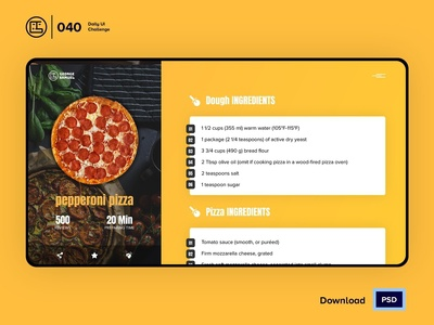 Food Pizza Recipe | Daily UI challenge - Day 040/100