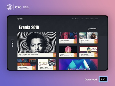 Event Listing | Daily UI challenge - 070/100 web design trendy ux user interface user experience daily ui george samuel freebies free psd interaction design interaction ecommerce dark ui landing page free ui kit hero section animation daily ui 070 cards event listing