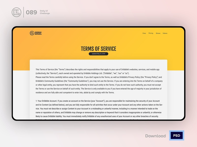 Terms Of Service   Daily UI challenge - 089/100 user interface user experience daily ui george samuel freebies free psd interaction design interaction ecommerce dark ui landing page free ui kit hero section animation daily ui 089 article faq terms and conditions privacy policy terms of service