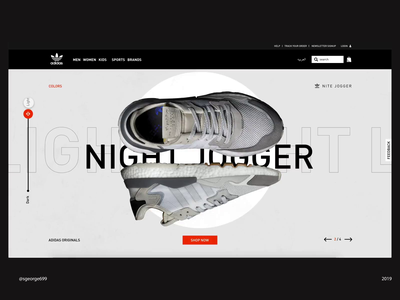 Addidas nite jogger Landing Page part2 illustration hero section user experience interaction animation daily ui interaction design george samuel landing page nite jogger