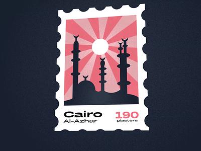 Cairo Stamp illustration noisy landmark logo drawing animation flat illustration sun postage stamp stamp illustraion azhar mosque cairo george samuel