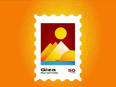 Giza Stamp illustration logo animation desert sphinx pyramids giza noise ancient egptians pharaoh landmark animation flat illustration postage stamp stamp illustration george samuel
