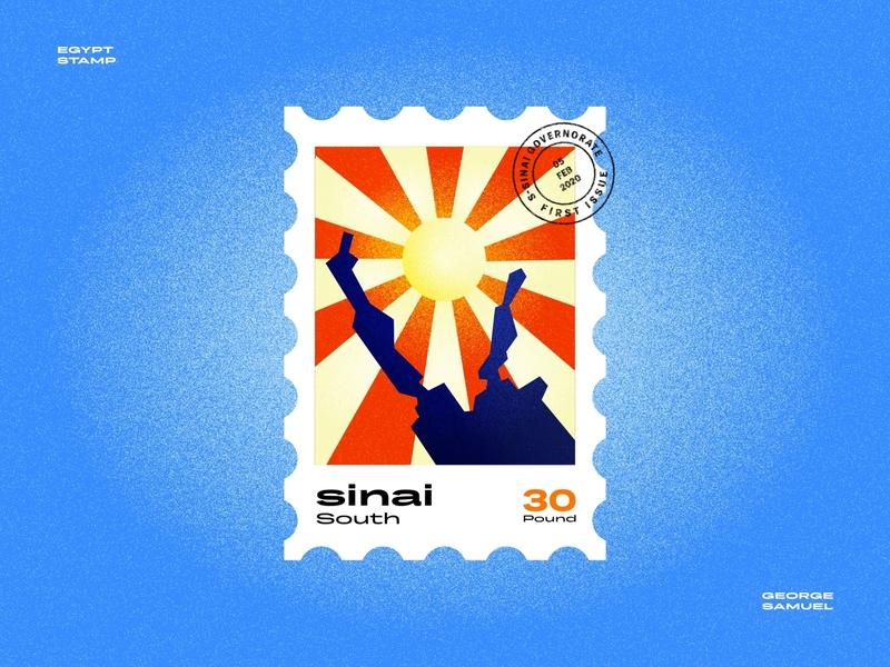 South Sinai Stamp illustration retro sun red sea noise ancient egptians pharaoh landmark animation flat illustration postage stamp stamp illustration george samuel south sinai south sinai
