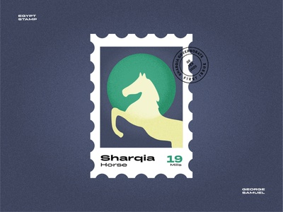 Sharqia Stamp illustration ui jump horse ash sharqia noise ancient egptians pharaoh landmark animation flat illustration postage stamp stamp illustration george samuel