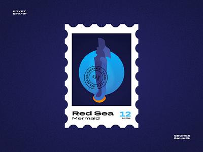 Red Sea Stamp illustration minimal sea sharm el sheikh hurgada red sea mermaid noise ancient egptians pharaoh landmark animation flat illustration postage stamp stamp illustration george samuel