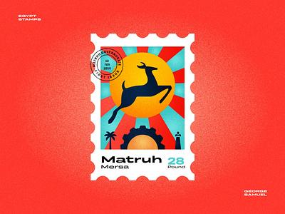 Mersa Matrouh Stamp illustration sunny retro noise ancient egptians pharaoh landmark animation flat illustration postage stamp stamp illustration george samuel palm des deer
