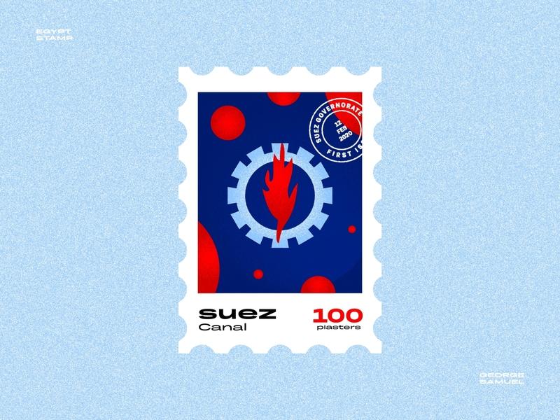 Suez Stamp illustration noise ancient egptians pharaoh landmark animation flat illustration postage stamp stamp illustration george samuel petroleum flame fire