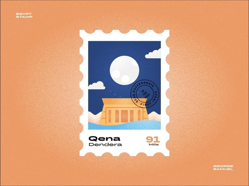 Qena Stamp illustration blue temple pharaohs upper egypt ancient egyptian dendara qena qena noise ancient egptians pharaoh landmark animation flat illustration postage stamp stamp illustration george samuel