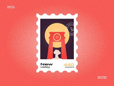 New Valley Stamp illustration retro sun palm desert rock ancient egyptian temple noise ancient egptians pharaoh landmark animation flat illustration postage stamp stamp illustration george samuel