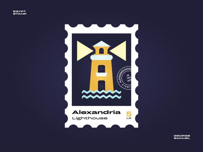 Alexandria Stamp illustration waves light sea mediterranean lighthouse noise ancient egptians pharaoh landmark animation flat illustration postage stamp stamp illustration george samuel