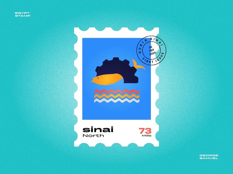 North sinai Stamp illustration sea wheels waves fishing fish cog noise ancient egptians pharaoh landmark animation flat illustration postage stamp stamp illustration george samuel