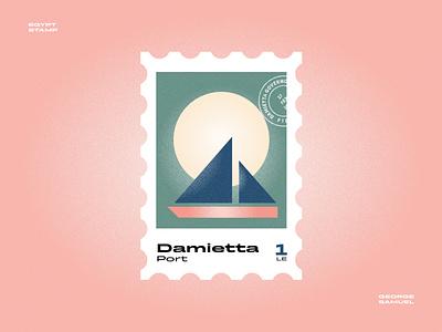 Demietta Stamp illustration sun ship boat noise ancient egptians pharaoh landmark animation flat illustration postage stamp stamp illustration george samuel