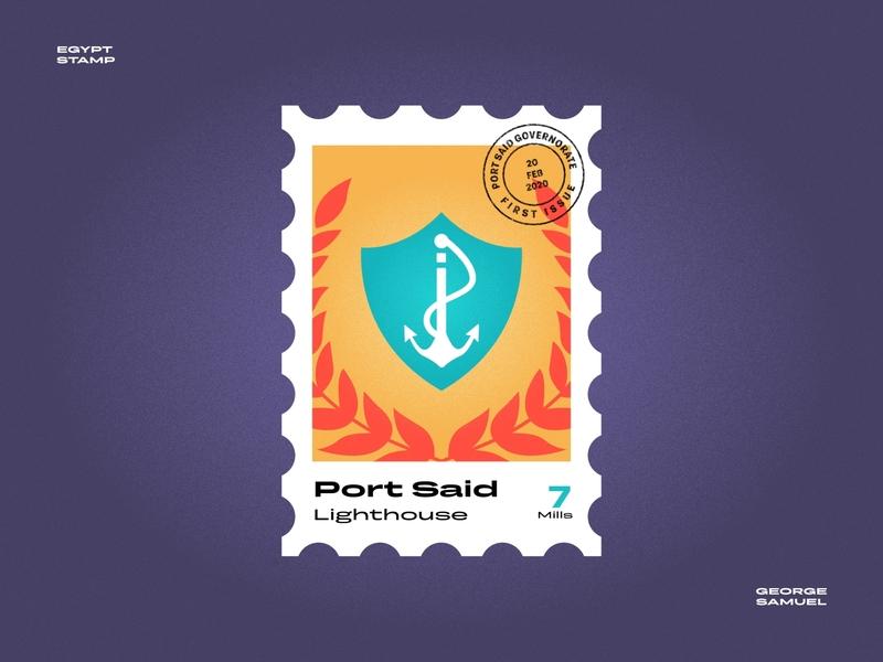 Port Said Stamp illustration red sea waves sea ort ship hook noise ancient egptians pharaoh landmark animation flat illustration postage stamp stamp illustration george samuel