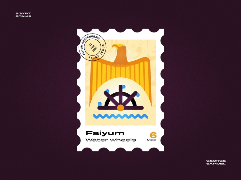 Faiyum Stamp illustration waves eagle wheels water wheels noise ancient egptians pharaoh landmark animation flat illustration postage stamp stamp illustration george samuel