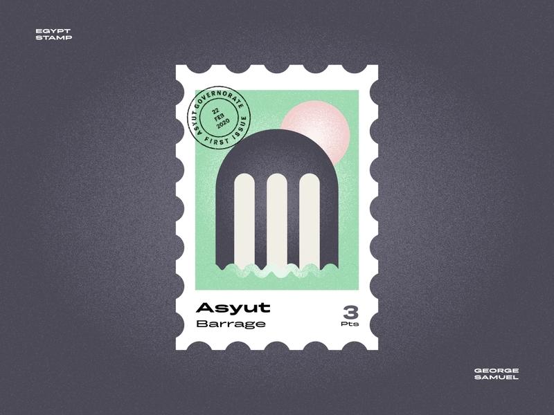 Asyut Stamp illustration badge retro sun waves nile gate barrage noise ancient egptians pharaoh landmark animation flat illustration postage stamp stamp illustration george samuel
