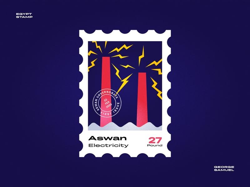 Aswan Stamp illustration shook electric tower electricity aswan noise ancient egptians pharaoh landmark animation flat illustration postage stamp stamp illustration george samuel