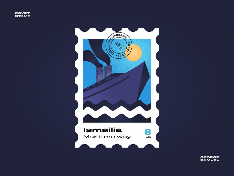 Ismailia Stamp illustration sun smoke boat ship noise ancient egptians pharaoh landmark animation flat illustration postage stamp stamp illustration george samuel