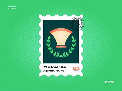 Dakahlia Stamp illustration wheate agriculture noise ancient egptians pharaoh landmark animation flat illustration postage stamp stamp illustration george samuel