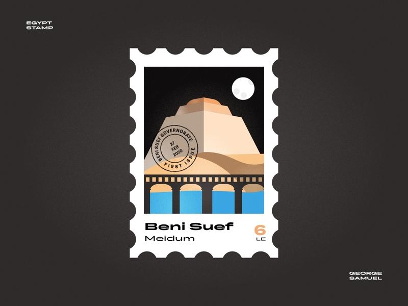 Beni Suef Stamp illustration bridge medom temple noise ancient egptians pharaoh landmark animation flat illustration postage stamp stamp illustration george samuel