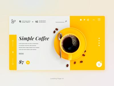 Simple Coffee yellow - Landing Page UI