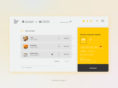 Coffee yellow - Checkout Page UI