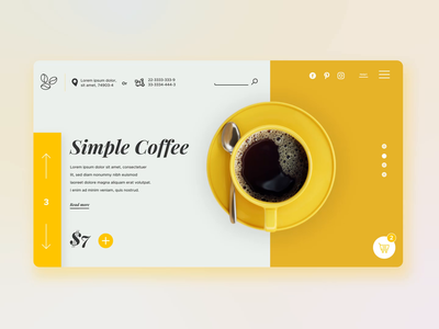 Simple Coffee yellow - Landing Page UI Motion