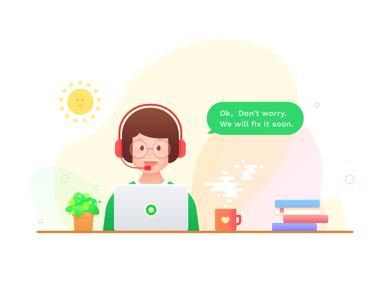 Customer Service illustration sms message ui app website hero image illustration girl support hotline service