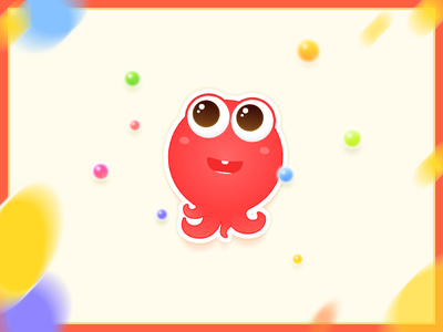 Octopus sticker colorful mascot cute kid happy fun illustration octopus sticker
