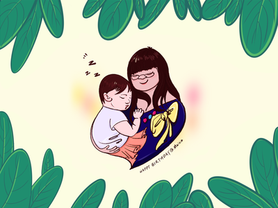 Mom and daughter portrait procreate drawing illustration leaves birthday peaceful love moment daugter mom