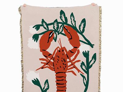 Langosta y claveles still life flowers carnation lobster food illustration artwork digital painting food surface design blanket illustration