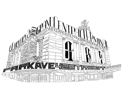 Architype 006: Grand Central Terminal architecture typography illustration