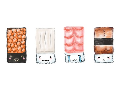 Second Patch of Emo Sushi :D illustration sushi