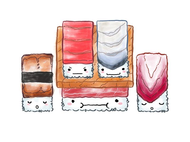 Happy Friday Fatty Tuna 🍣! sushi spot illustration illustration